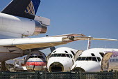 Airliners being dismantled for scrap at the Mojave airport in California's Mojave desert. - Jim West - 01-07-2006
