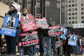 Detroit, Michigan - Members of the Teamsters Union who deliver new cars to dealers protest at the North American International Auto Show to protest Fiat Chrysler moving work to cut-rate, non-union car... - Jim West - 16-01-2010