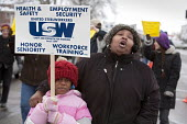 River Rouge, Michigan - Members of USW Local 1299 picket Great Lakes Steel, a subsidiary of US Steel, protesting that the company violating their contract by ignoring seniority in calling workers back... - Jim West - 10-02-2010