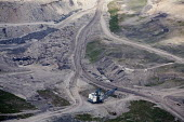 An aerial view of a large dragline excavator used in Mountaintop removal mining (MTR). West Virginia - Jim West - 21-04-2010
