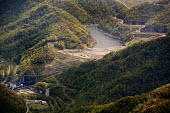 An aerial view of Massey Energys Shumate coal sludge impoundement, which stores billions of gallons of waste behind an earth dam. West Virginia - Jim West - 21-04-2010