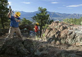 A women breaking rocks with a sledgehammer. A crew of volunteers from the Southwest Conservation Corps working on a project to construct a mountain bike trail on land administered by the U.S. Bureau o... - Jim West - 04-10-2010