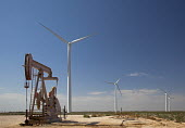An oil well and wind turbines in west Texas. USA - Jim West - American,2010,2010s,Alternative Energy,America,American,americans,capitalism,capitalist,Climate Change,country,countryside,donkey,ELECTRICAL,ELECTRICITY,emissions,energy,energy supply,eni,environment,
