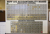Accountablility board. Brass tags are used to account for every person going underground at the Waste Isolation Pilot Plant, where radioactive waste from America's nuclear weapons program is stored in... - Jim West - 11-10-2010