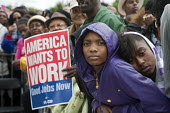 President Obama supporters at Labor Day Rally in Detroit. - Jim West - American,2010s,2011,adolescence,adolescent,adolescents,African American,African Americans,America,American,americans,BAME,BAMEs,black,BME,bmes,campaign,campaigning,CAMPAIGNS,DEMOCRACY,Democratic Party