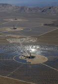 San Bernardino County, California, Ivanpah Solar Project, NRG Energy, a thermal electric generating facility, Mojave Desert. 173,500 heliostats, sets of mirrors, focus sunlight on three towers where w... - Jim West - 23-03-2013