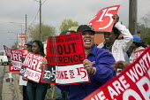 Warren, Michigan - Fast food workers and supporters picket a Long John Silvers restaurant, demanding a raise from their current rate of 7.40 an hour. It was part of a one-day strike against Detroit-ar... - Jim West - 10-05-2013