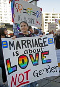 Detroit, Michigan - Supporters of marriage equality rally at the Federal Courthouse as a judge was hearing arguments on the constitutionality of Michigan's ban on same-sex marriage and adoption by sam... - Jim West - 16-10-2013