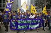 New York, New York - Members of the SEIU joined hundreds of thousands in the People's Climate March to demand urgent action against the threat of climate change. - Jim West - 21-09-2014