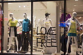Los Angeles, California - Love is free. A sign in a women's clothing store on Hollywood Boulevard in Hollywood. - Jim West - 20-06-2012