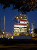 Wilmington, California, USA: BP oil refinery displaying a huge American flag - Jim West - 22-06-2012