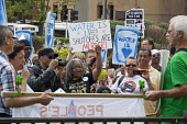 Detroit, Michigan - A delegation from Canada delivering water to Detroit as a protest against the city's water shutoffs. As it tries to recover from bankruptcy, the city is shutting off water to tens... - Jim West - 24-07-2014