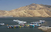 Three Rivers, California - Houseboats on Lake Kaweah, an artificial reservoir in the western foothills of the Sierra Nevada mountains. The lake was created for flood control purposes when Terminus Dam... - Jim West - 26-06-2012
