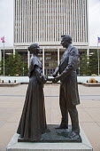 Salt Lake City, Utah - A statue of Joseph Smith, founder of the Church of Jesus Christ of Latter Day Saints (Mormons), with his legal wife, Emma, in Temple Square. Smith had approximately 40 wives. Sa... - Jim West - 14-11-2014