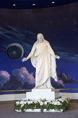 Salt Lake City, Utah - A statue of Jesus Christ in a Mormon visitor center in Temple Square, a replica of the Christus, a statue of Jesus Christ by Danish sculptor Bertel Thorvaldsen. With clouds, sta... - Jim West - 14-11-2014