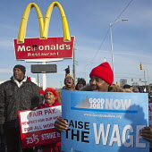 Detroit, Michigan - Fast food workers one day strike for higher wages. They picketed several McDonalds restaurants, demanding a living wage of 15 an hour. - Jim West - 04-12-2014