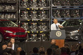 Wayne, Michigan - President Barack Obama speaking to car workers at the Ford Michigan Assembly Plant. Obama celebrated car manufacturers' resurgence since the 2009 government bailout of the auto indus... - Jim West - 2010s,2015,African American,African Americans,America,Assembly,auto,AUTOMOBILE,AUTOMOBILES,automotive,bailout,BAME,BAMEs,Barack,black,BME,bmes,capitalism,capitalist,car,Car Industry,carindustry,cars,c