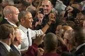 Wayne, Michigan - President Barack Obama shakes hands following a speech at the Ford Michigan Assembly Plant. Obama celebrated car manufacturers' resurgence since the 2009 government bailout of the au... - Jim West - 2010s,2015,African American,African Americans,America,Assembly,auto,automotive,bailout,BAME,BAMEs,Barack,black,BME,bmes,capitalism,capitalist,Car Industry,carindustry,cities,city,cultural,Democratic P