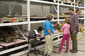 Salt Lake City, Utah - The Natural History Museum of Utah at the Rio Tinto Center on the University of Utah campus. A volunteer shows visitors some of the museum's fossils and bones that are not norma... - Jim West - 15-11-2014