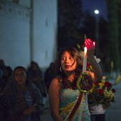 San Sebastian Abasolo, Oaxaca, Mexico - Parishoners parade around the church courtyard after mass at the San Sebastian Abasolo Catholic church during the towns yearly celebration of San Sebastian, the... - Jim West - &,2010s,2015,americas,Amerindian,Amerindians,at,belief,candle,candles,Catholic,catholicism,Catholics,CELEBRATE,CELEBRATING,celebration,CELEBRATIONS,christian,christianity,christians,church,churches,ci