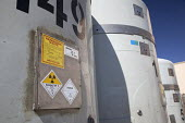 Carlsbad, New Mexico - Radioactive plutonium and americium waste from America's nuclear weapons program in TRUPACT shipping containers at the Waste Isolation Pilot Plant. Nuclear waste is shipped by t... - Jim West - 11-10-2010