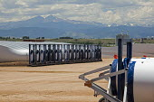 Colorado, wind turbine blades outside Vestas Wind Systems factory USA - Jim West - 11-07-2015