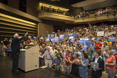 Des Moines, Iowa audience cheering at a Senator Bernie Sanders campaign rally for President - Jim West - 24-07-2015