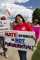 USA Protest at Donald Trump anti-immigrant anti-woman anti-veteran views. Republican fundraising event Michigan - Jim West - 2010s,2015,activist,activists,AFL CIO,AFL–CIO,America,American,americans,Anti Racism,anti racist,Auto,campaign,campaigner,campaigners,CAMPAIGNING,CAMPAIGNS,candidate,CANDIDATES,DEMOCRACY,DEMONSTRATI