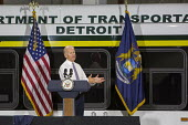 Vice President Joe Biden speaking Detroit Michigan about improvements to the transit system. Biden helped Detroit get 80 new buses, funded by the Federal Government. - Jim West - American,2010s,2015,America,American,americans,BUS,bus service,buses,Democratic Party,Democrats,Detroit,flag,flags,Joe Biden,Michigan,POL,political,POLITICIAN,POLITICIANS,Politics,President,service,se
