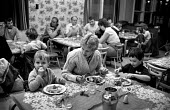 Familes enjoy a proper meal at a soup kitchen organised by miners from Welbeck colliery, Nottinghamshire - Katalin Arkell - 09-11-1984