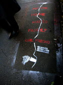 A pavement stencil which is part of a new phase of the award-winning No Knives, Better Lives initiative Glasgow. - Mike Day - ,2010,2010s,CLJ,crime,knife,knives,pavement,Scotland,Scottish,sidewalk,stencil,weapon,WEAPONS