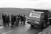 Miners from Ogilvie pit picket Fockriw open cast mine in South Wales during 1972 miners strike - Martin Mayer - , Miners Strike, Miner's Strike NUM, Trades Union,1970s,1972,coal,coal industry,coalfield,dispute,DISPUTES,driver,drivers,driving,EARNINGS,EQUALITY,HAULAGE,HAULIER,HAULIERS,HGV,hgvs,Income,INCOMES,IND