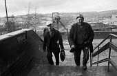 Miners from Oakdale pit, South Wales, just before 1974 strike - Martin Mayer - 1970s,1974,capitalism,capitalist,change,Coal Industry,Coal Mine,coalfield,coalindustry,collieries,colliery,coming off,disputes,EBF,Economic,Economy,employee,employees,Employment,INDUSTRIAL DISPUTE,Ind
