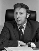 Arthur Scargill speaking at a Yorkshire Miners press conference at the end of the 1974 miners strike - Martin Mayer - ,1970s,1974,Arthur,conference,conferences,disputes,INDUSTRIAL DISPUTE,male,man,member,member members,members,men,MINER,miners,MINER'S,Miners Strike,Miner's Strike,NUM,people,person,persons,press,Scarg