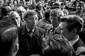 Arthur Scargill surrounded by Yorkshire miners after walking out of a meeting on productivity 4 months after the 1974 strike. - Martin Mayer - 26-09-1974