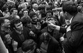 Shipyard workers from Upper Clyde Shipyards, Glasgow talk to one of their leaders, Jimmy Airlie, after a march and rally of 80,000 trades union members opposing the threatened closure of the yards. Th... - Martin Mayer - 23-06-1971