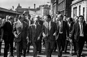 Leading a march in Glasgow in support of the Upper Clyde Shipyards workers - TUC Gen Sec Vic Feather (L), Labour MPs Stan Orme (2nd from left) and Tony Benn (2nd from right) AEU Gen Sec Hugh Scanlon (... - Martin Mayer - 18-08-1971