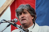 Radovan Karadzic, leader of the Bosnian Serb nationalists, at an election rally by the SDS (Serb Democratic Party) in the Muslim majority town of Gorazde in Eastern Bosnia. - Martin Mayer - 1990,1990s,balkan,balkans,Bosnia,Bosnian,bosnians,DEMOCRACY,Democratic Party,Eastern Europe,election,elections,eu,european,europeans,flag,flags,General Election,Gorazde,Herzegovina,ISLAM,ISLAMIC,Karad