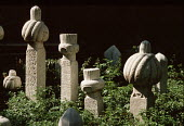 Ancient Muslim gravestones in a cemetary above Sarajevo, Bosnia - Martin Mayer - 09-09-1990