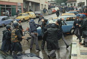 Riot police attack a single transport worker during demonstrations against the Muslim controlled council in Gorazde, Eastern Bosnia - Martin Mayer - 10-09-1990