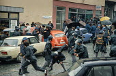 Riot police attack transport workers during a demonstration against the Muslim controlled council in Gorazde, Eastern Bosnia - Martin Mayer - 10-09-1990