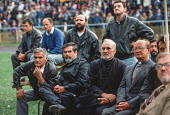 Orthodox priests join leather jacketed men at an election rally of the Bosnian Serb nationalist Serbian Democratic Party, addressed by its leader Radovan Karadzic, in the Muslim majority town of Goraz... - Martin Mayer - 12-09-1990