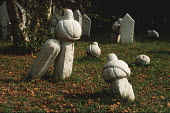 Ancient Muslim gravestones in a cemetary above Sarajevo, Bosnia - Martin Mayer - 12-09-1990