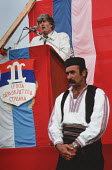 Radovan Karadzic, leader of the Bosnian Serb nationalist party Serbian Democratic Party addressing a rally of the party in the Muslim majority town of Gorazde in eastern Bosnia - Martin Mayer - ,1990,1990s,balkan,balkans,Bosnia,bosnian,bosnians,costume,DEMOCRACY,Democratic Party,eastern,Eastern Europe,election,elections,eu,european,europeans,flag,flags,General Election,Gorazde,Herzegovina,IS