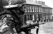 British army patrol in the Protestant Crumlin Road area, Belfast 1971 shortly after the announcement of internment without trial in Northern Ireland - Martin Mayer - 14-08-1971