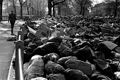 Rubbish piled high in a park, council workers pay strike, Hackney, London - Martin Mayer - 04-11-1970