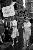 Mary Whitehouse (L) leader of the National Viewers and Listeners Association protests outside the Old Bailey against the defendants in the Oz Trial being tried for obscenity, London - Martin Mayer - ,Censorship,Censored,freedom of the press,Human Rights,freedom,London,magazine,magazines,media,magazine,publication,magazines,publications,Mary,Whitehouse,Old,Bailey,Oz,protest,demonstration,SFR,Yugos