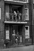Council estate in Brixton in the early 1970s~Ferndale Court, blocks of flats, 1970 - Martin Mayer - 1970,1970s,balconies,BAME,BAMEs,black,BME,bmes,boy,boys,Brixton,child,CHILDHOOD,children,cities,city,communities,community,council,council estate,council services,council estate,council services,Court