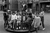 Children on a Brixton council estate, summer 1970 Ferndale Court, blocks of flats, 1970 - Martin Mayer - 1970,1970s,areas,BAME,BAMEs,black,BME,bmes,boy,boys,Brixton,child,CHILDHOOD,children,cities,city,communities,community,council,council estate,council services,council estate,council services,Court,Dia