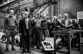 Workers at Mirrlees, Bickerton & Day Limited, diesel engine manufacturers at Hazel Grove near Stockport, Cheshire, in confident mood during their occupation of the factory in support of a district wid... - Martin Mayer - 01-04-1972